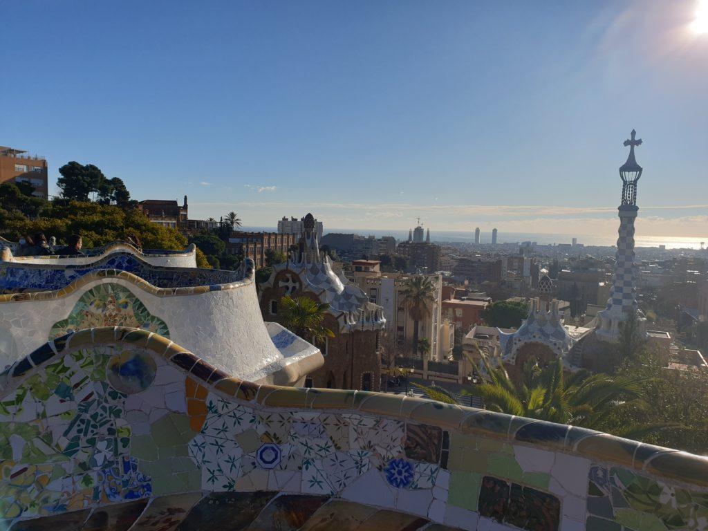 vue Barcelone esplanade parc Guell